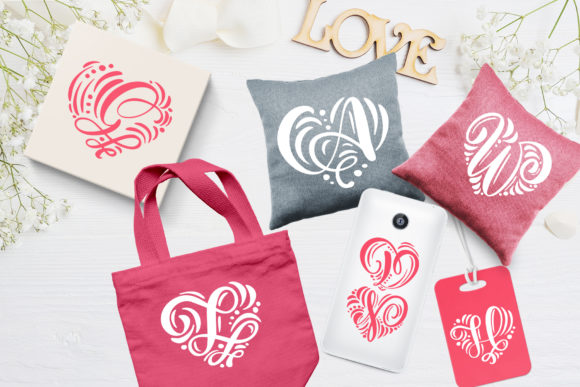 Print on Demand: Monogram Valentine Decorative Font By Happy Letters - Image 2