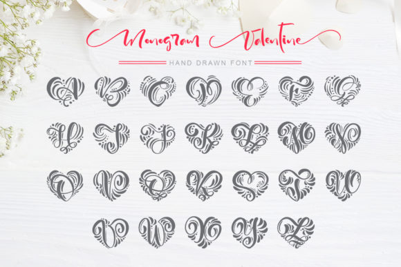 Print on Demand: Monogram Valentine Decorative Font By Happy Letters - Image 4