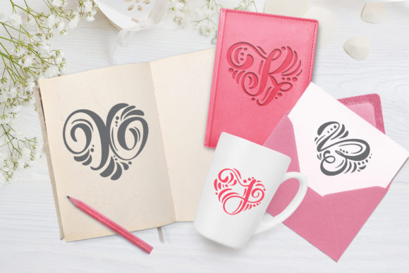 Print on Demand: Monogram Valentine Decorative Font By Happy Letters - Image 6