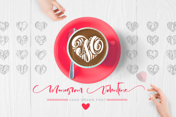 Print on Demand: Monogram Valentine Decorative Font By Happy Letters