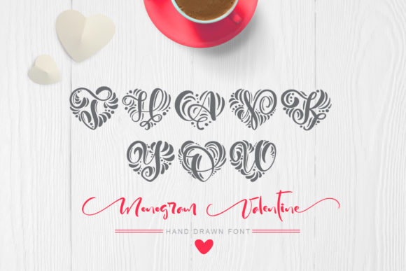 Print on Demand: Monogram Valentine Decorative Font By Happy Letters - Image 7