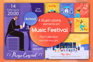 Music Festival Flat Collection Graphic By teravector