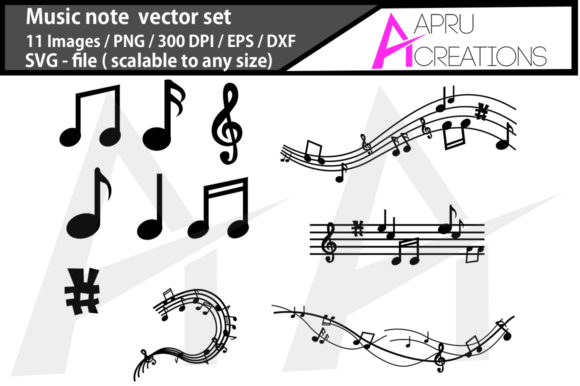 Print on Demand: Music Note Music Note Silhouette Graphic Crafts By aparnastjp