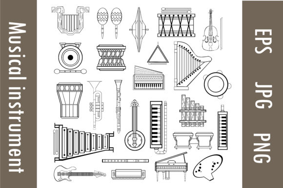Musical Instruments Line Art Full Pack Graphic Illustrations By RFG