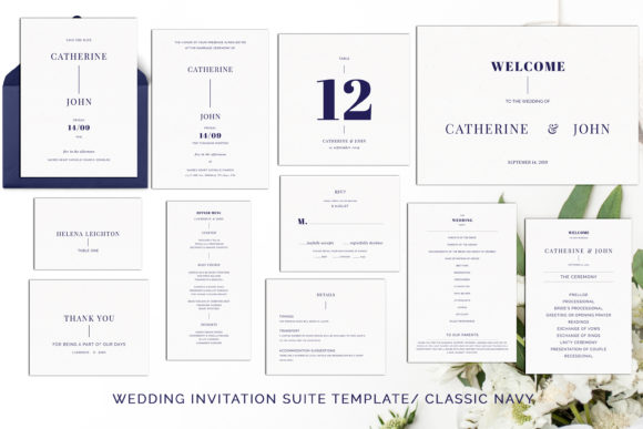 Print on Demand: Navy Wedding Template Suite Graphic Print Templates By Primafox Design - Image 2