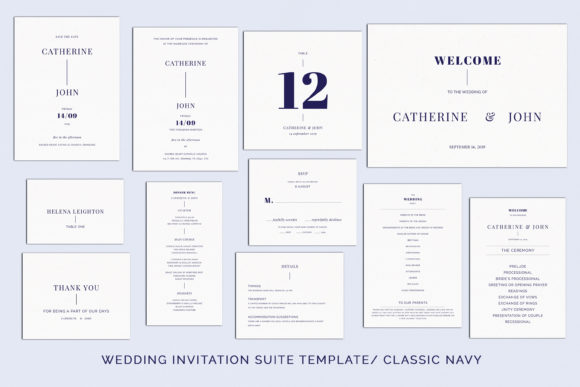 Print on Demand: Navy Wedding Template Suite Graphic Print Templates By Primafox Design