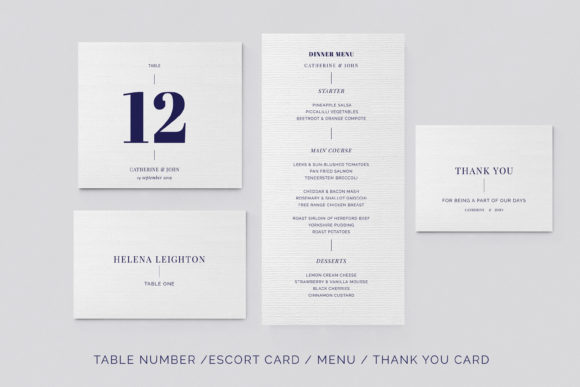 Print on Demand: Navy Wedding Template Suite Graphic Print Templates By Primafox Design - Image 7