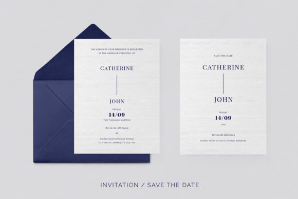 Print on Demand: Navy Wedding Template Suite Graphic Print Templates By Primafox Design - Image 9
