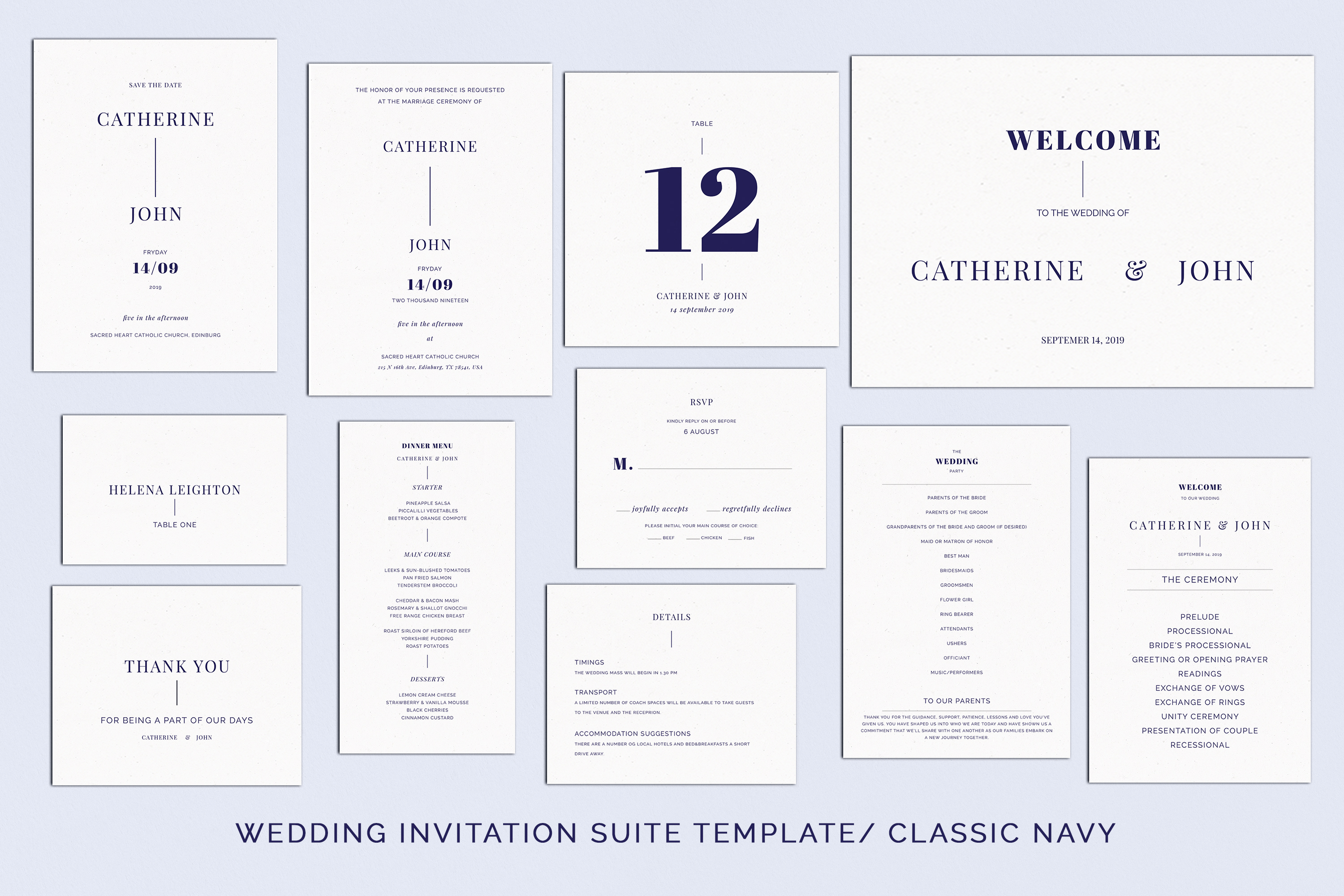 Download Free Navy Wedding Template Suite Graphic By Primafox Design for Cricut Explore, Silhouette and other cutting machines.