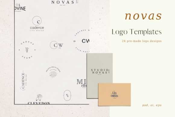 Print on Demand: Novas, Pre-made Logo Set of 24 Logos Graphic Logos By Primafox Design