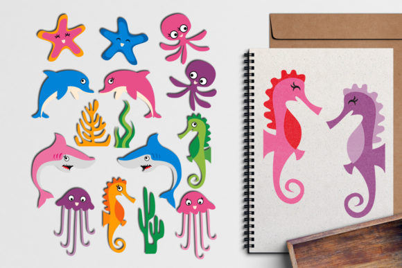Print on Demand: Ocean Animals Graphic Illustrations By Revidevi