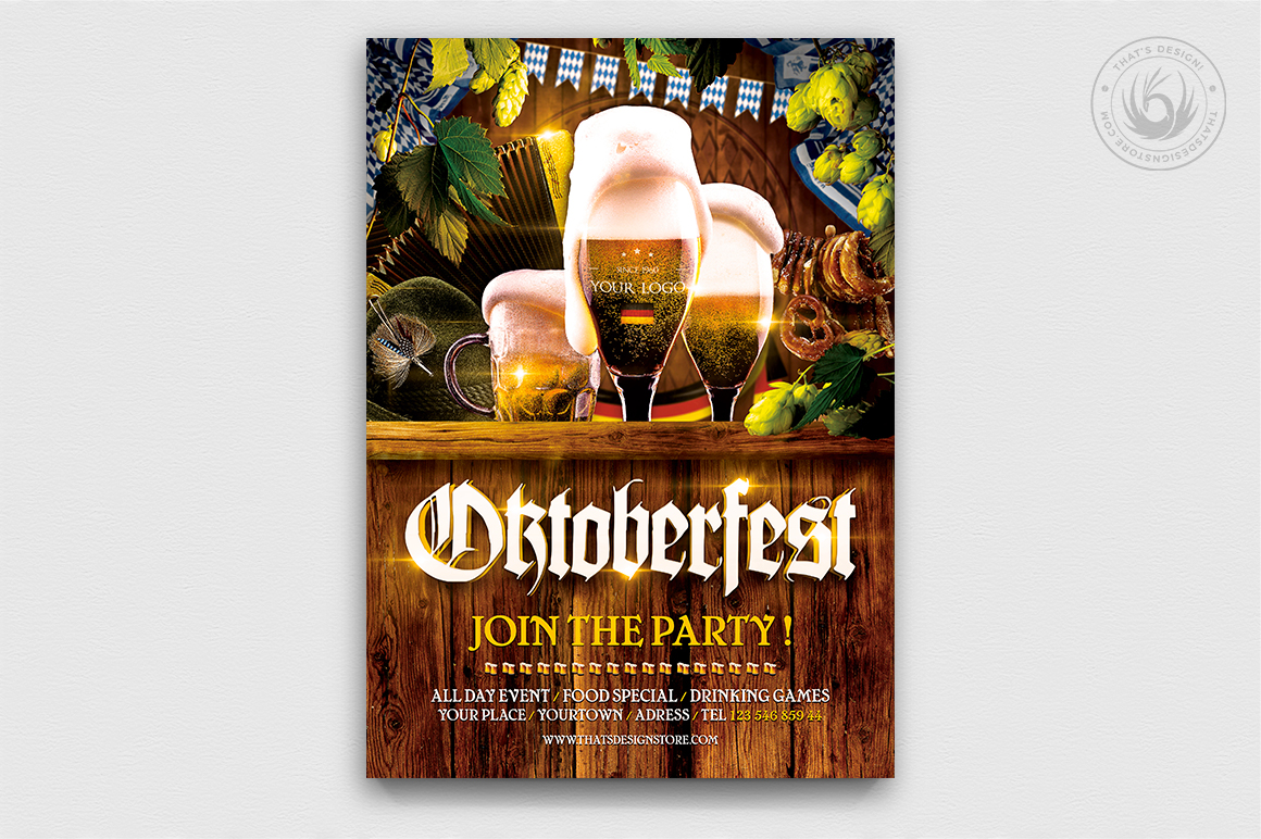 Download Free Oktoberfest Flyer Template V4 Graphic By Thatsdesignstore for Cricut Explore, Silhouette and other cutting machines.