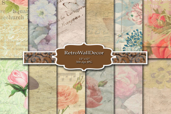 Print on Demand: Old Floral Paper Graphic Backgrounds By retrowalldecor