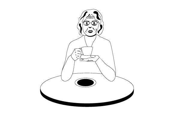 Old Woman Drinking Tea Svg Cut File By Creative Fabrica Crafts