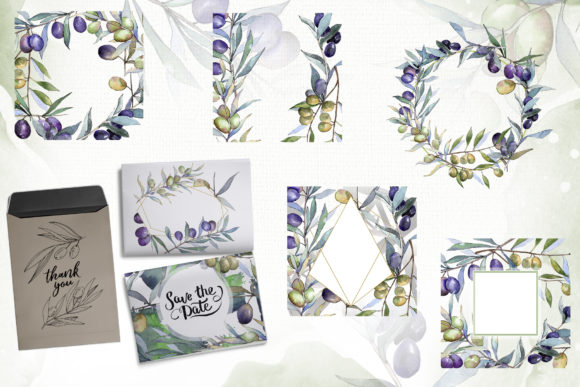 Print on Demand: Olive Branches Collection  Watercolor Graphic Illustrations By MyStocks - Image 2