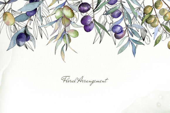 Print on Demand: Olive Branches Collection  Watercolor Graphic Illustrations By MyStocks - Image 6