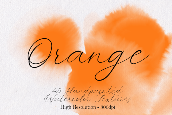 Print on Demand: Orange - 45 Watercolor Textures Graphic Textures By lovalu