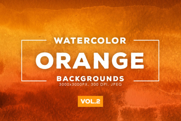 Print on Demand: Orange Watercolor Backgrounds 2 Graphic Backgrounds By ArtistMef