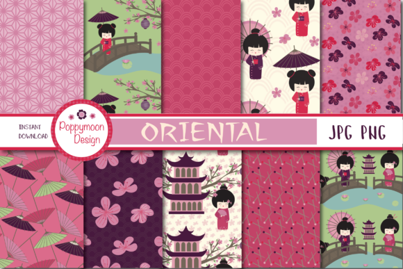 Print on Demand: Oriental Paper Graphic Patterns By poppymoondesign - Image 1