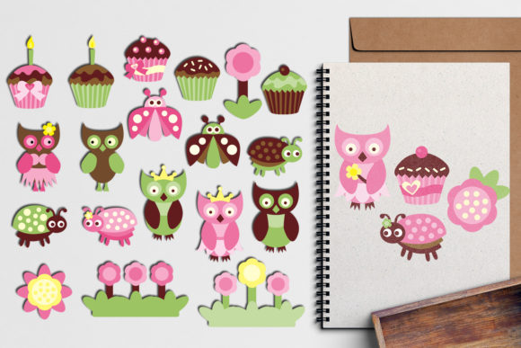 Print on Demand: Owl Cupcake Party Graphic Illustrations By Revidevi - Image 1