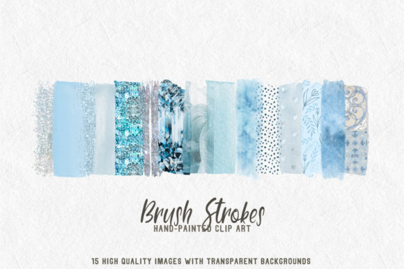 Print on Demand: Pale Blue Brush Strokes Clip Art Graphic Textures By lovalu - Image 1