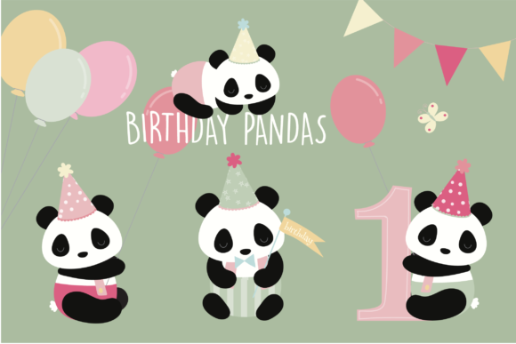 Print on Demand: Panda Birthday Clipart Graphic Illustrations By poppymoondesign
