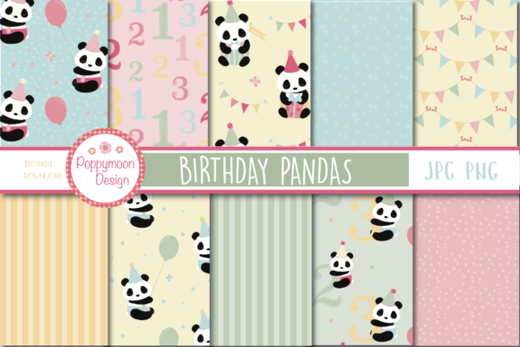 Print on Demand: Panda Birthday Paper Graphic Patterns By poppymoondesign
