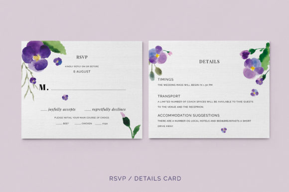 Print on Demand: Pansies Wedding Invitation Suite Graphic Print Templates By Primafox Design - Image 2