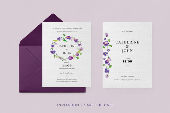 Print on Demand: Pansies Wedding Invitation Suite Graphic Print Templates By Primafox Design - Image 3