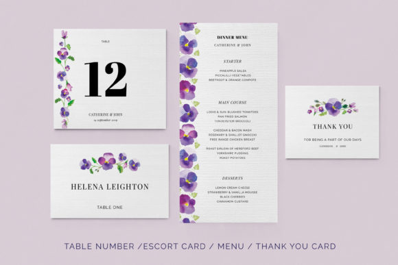 Print on Demand: Pansies Wedding Invitation Suite Graphic Print Templates By Primafox Design - Image 4