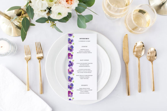 Print on Demand: Pansies Wedding Invitation Suite Graphic Print Templates By Primafox Design - Image 5
