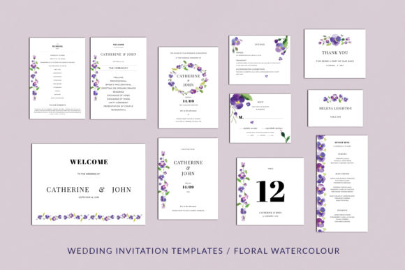 Print on Demand: Pansies Wedding Invitation Suite Graphic Print Templates By Primafox Design