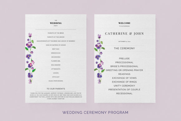Print on Demand: Pansies Wedding Invitation Suite Graphic Print Templates By Primafox Design - Image 7