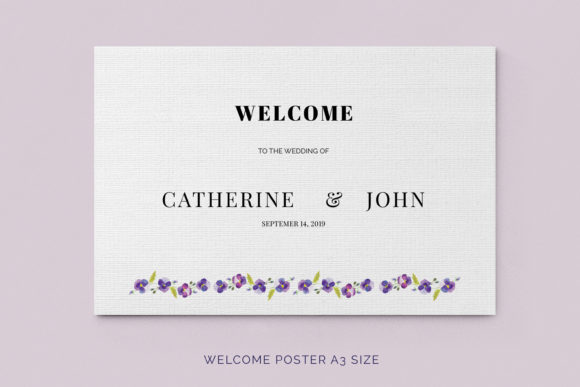 Print on Demand: Pansies Wedding Invitation Suite Graphic Print Templates By Primafox Design - Image 9
