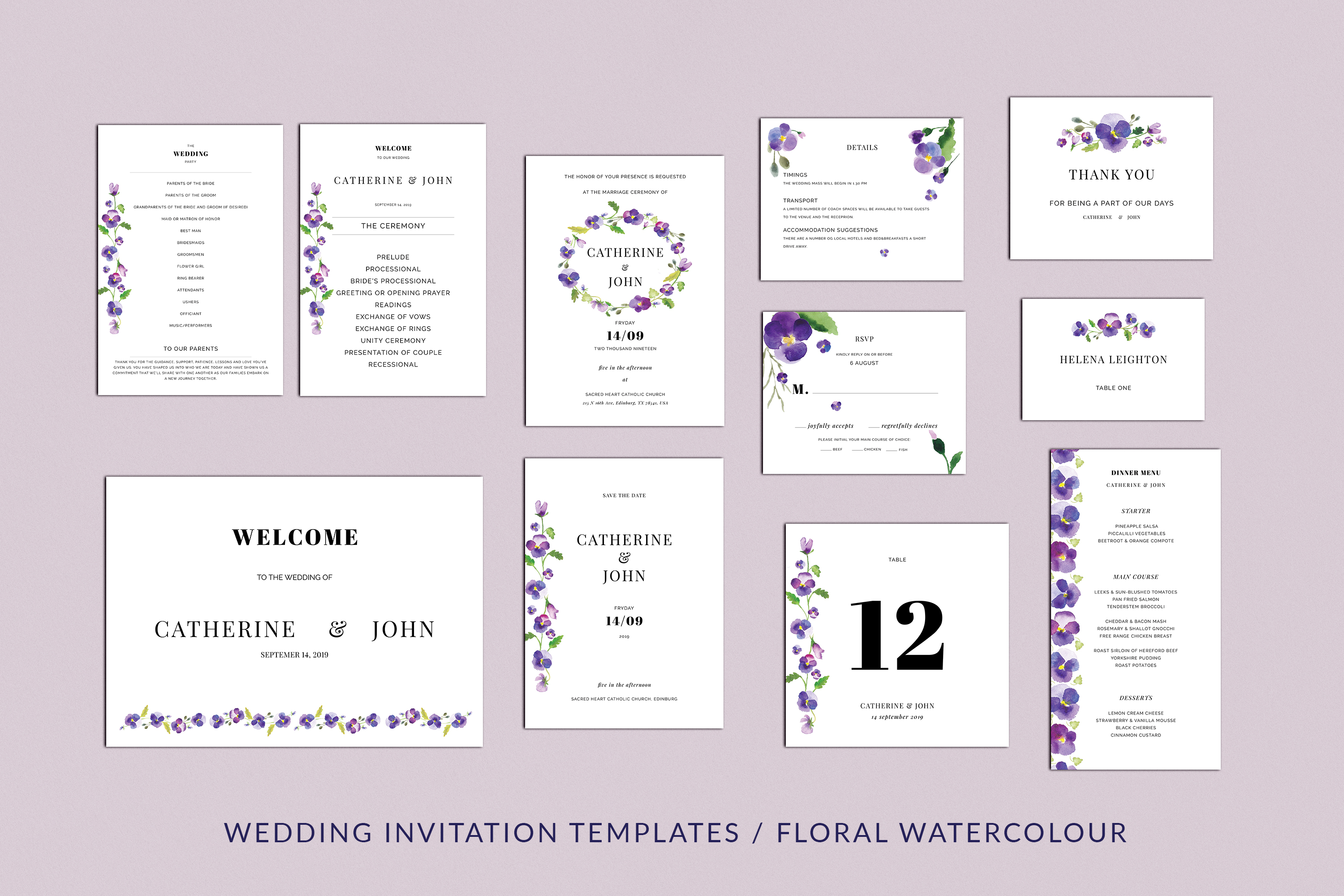 Download Free Pansies Wedding Invitation Suite Graphic By Primafox Design for Cricut Explore, Silhouette and other cutting machines.