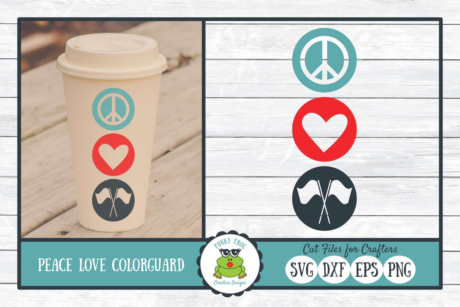 Download Free Peace Love Color Guard Graphic By Funkyfrogcreativedesigns for Cricut Explore, Silhouette and other cutting machines.