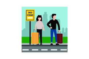 Persons Waiting at Taxi Stand Craft Design By Creative Fabrica Crafts