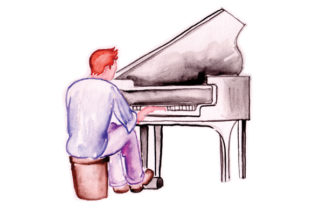 Piano and Pianist in Watercolor Craft Design By Creative Fabrica Crafts