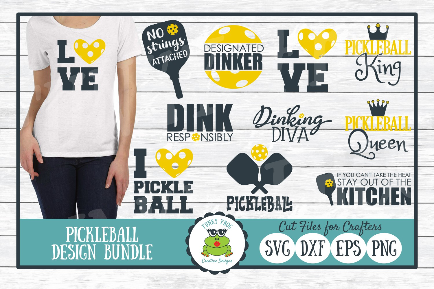 Download Free Pickleball Design Bundle Graphic By Funkyfrogcreativedesigns for Cricut Explore, Silhouette and other cutting machines.