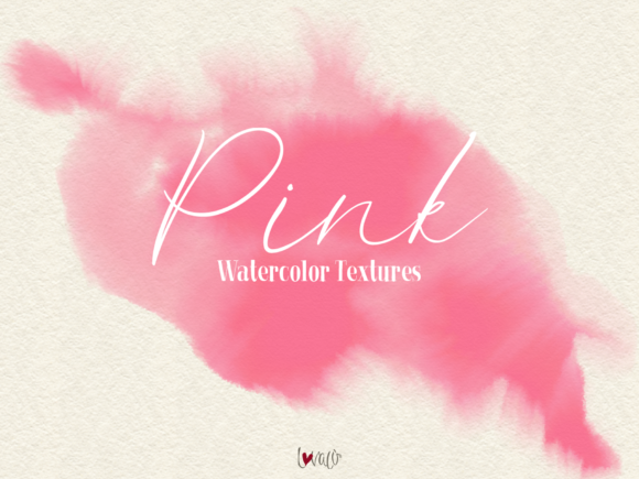Print on Demand: Pink - 45 Watercolor Textures Graphic Textures By lovalu