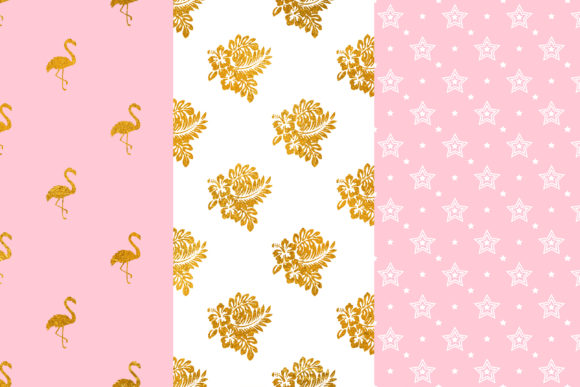 Pink Gold Flamingo Digital Papers Graphic Patterns By BonaDesigns - Image 2