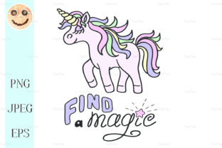 Pink Unicorn and Find a Magic Lettering Graphic By TasiPas