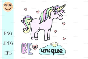 Pink Unicorn with Be a Unique Lettering Graphic By TasiPas