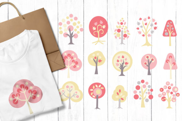 Print on Demand: Pink Trees Graphic Illustrations By Revidevi