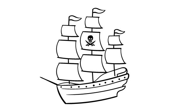 Pirate Ship Lineart Svg Cut File By Creative Fabrica Crafts