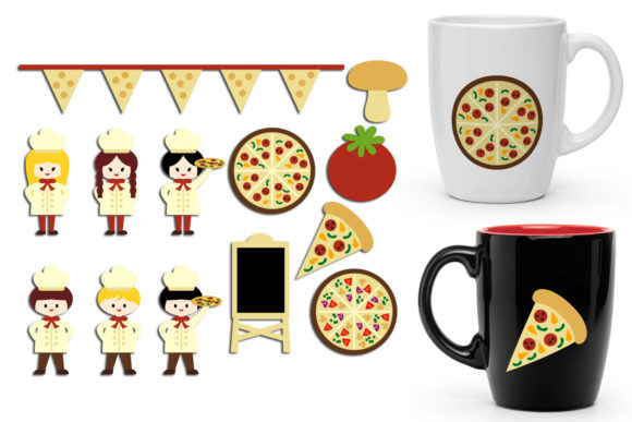 Print on Demand: Pizza Party Graphic Illustrations By Revidevi