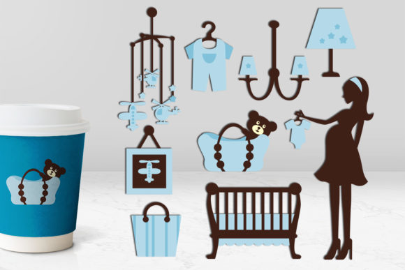 Print on Demand: Pregnancy and Blue Nursery Graphic Illustrations By Revidevi
