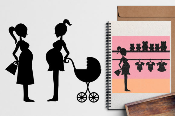 Print on Demand: Pregnant Woman Silhouette Graphic Illustrations By Revidevi - Image 2