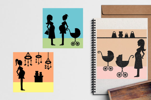 Print on Demand: Pregnant Woman Silhouette Graphic Illustrations By Revidevi - Image 3