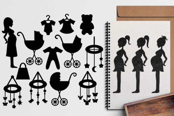 Print on Demand: Pregnant Woman Silhouette Graphic Illustrations By Revidevi - Image 1